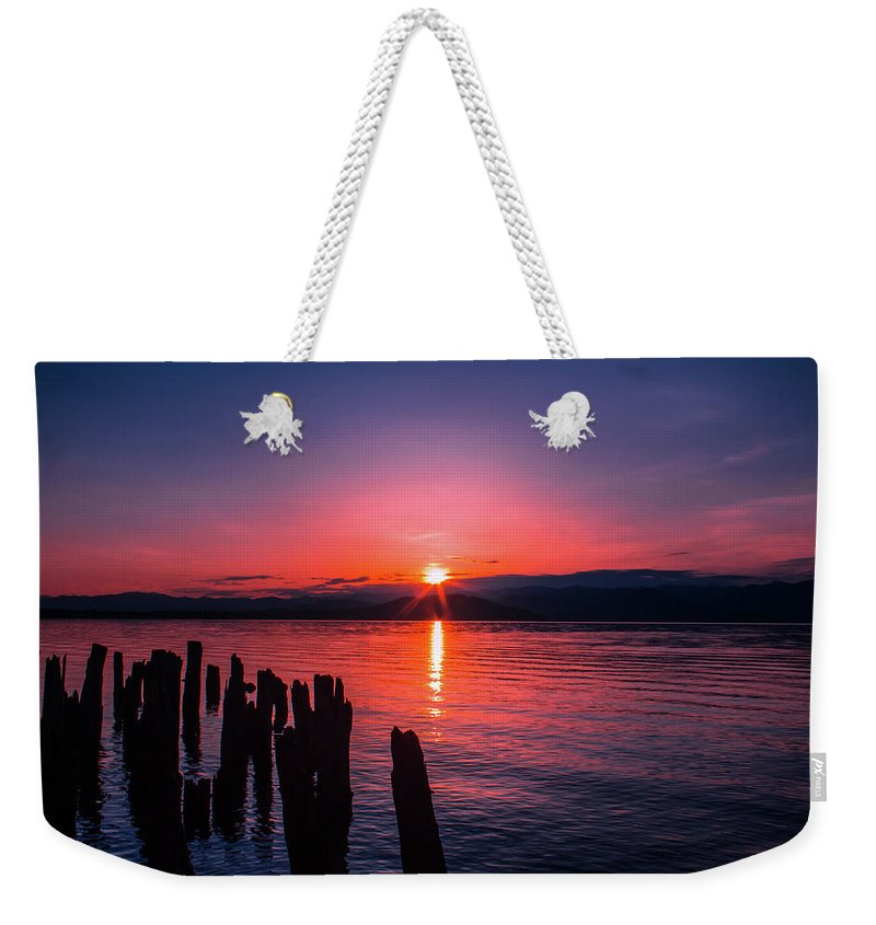 Sunrise Weekender Tote Bag featuring the photograph A Pend Oreillle Sunrise by Josh Smith Photography