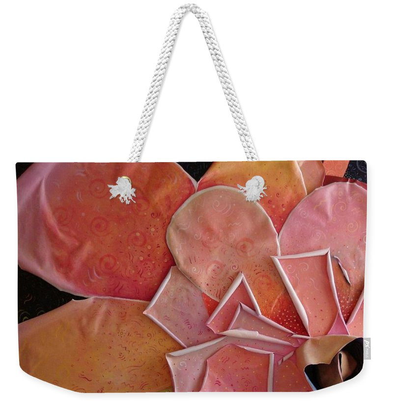 Sculptural Weekender Tote Bag featuring the painting A Pink Experience by Helena Tiainen