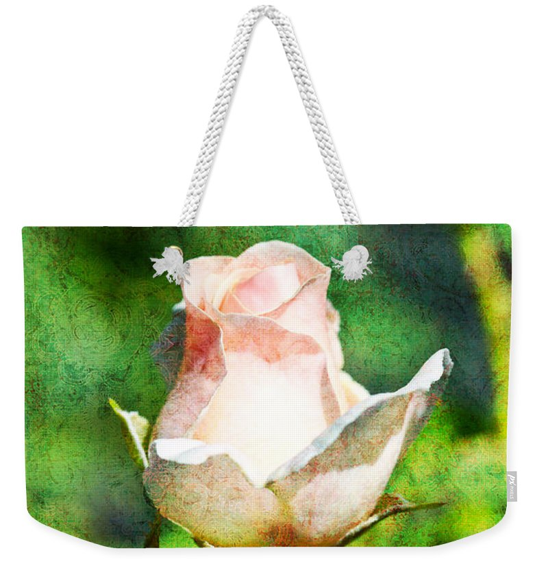 Rose Weekender Tote Bag featuring the photograph A Pink Rose With Texture by Marie Jamieson