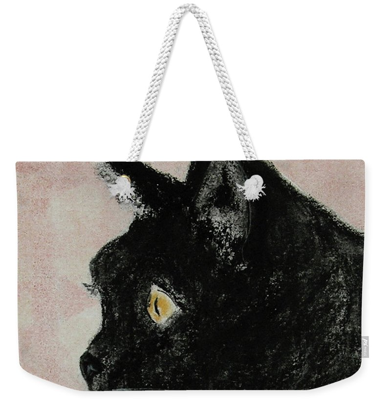 Pastels Weekender Tote Bag featuring the mixed media A Purrfect Vision by Cori Solomon