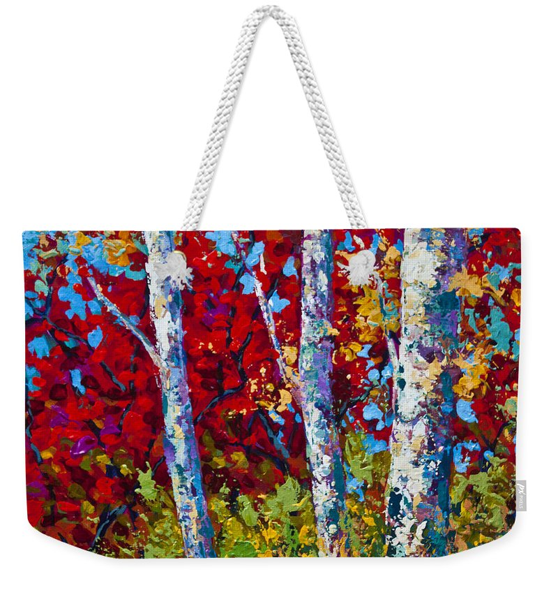 Birch Weekender Tote Bag featuring the painting A Quiet Pause by Marion Rose