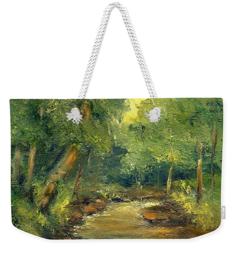 Creek Weekender Tote Bag featuring the painting A Quiet Place by Gail Kirtz