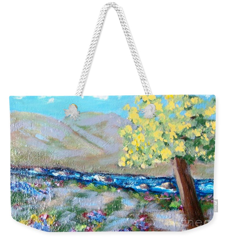 Landscapes Weekender Tote Bag featuring the painting A Quiet Place by Laurie Morgan