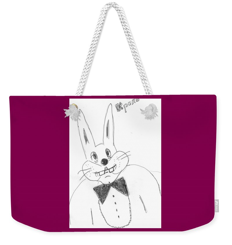 Weekender Tote Bag featuring the drawing A Rabbit. by Yulia Shuster