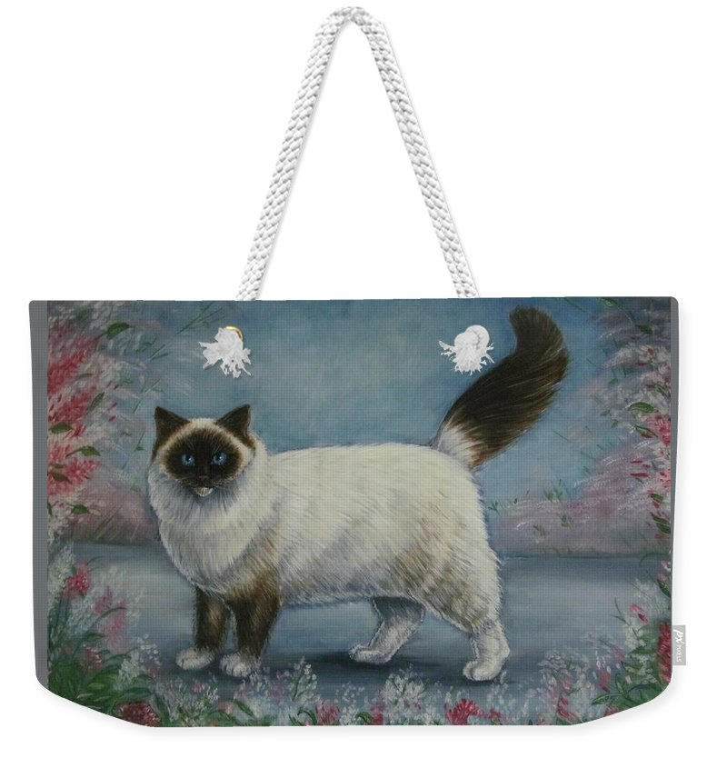 White Weekender Tote Bag featuring the painting A Himalayan Cat by John Bower