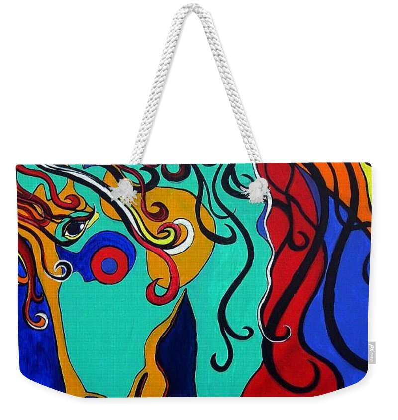 Horse Weekender Tote Bag featuring the painting A Rainbow Called Romeo by Alison Caltrider