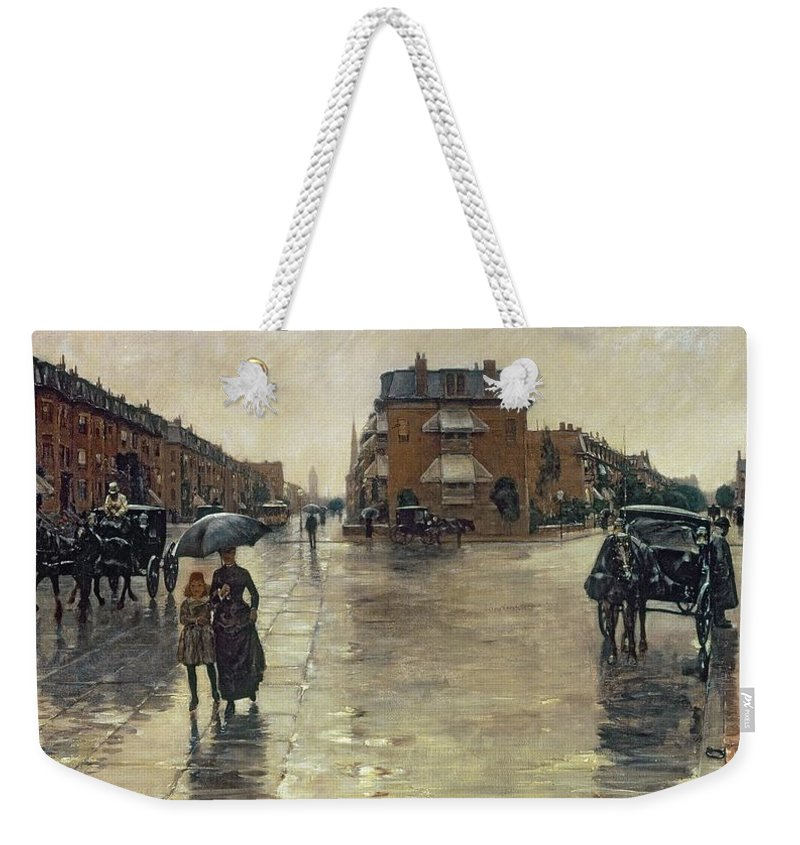 Rainy Weekender Tote Bag featuring the painting A Rainy Day In Boston by Childe Hassam