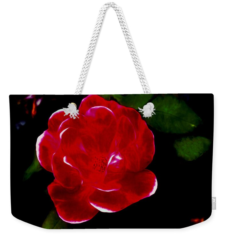 Red Weekender Tote Bag featuring the mixed media A Red Rose by Debra Lynch