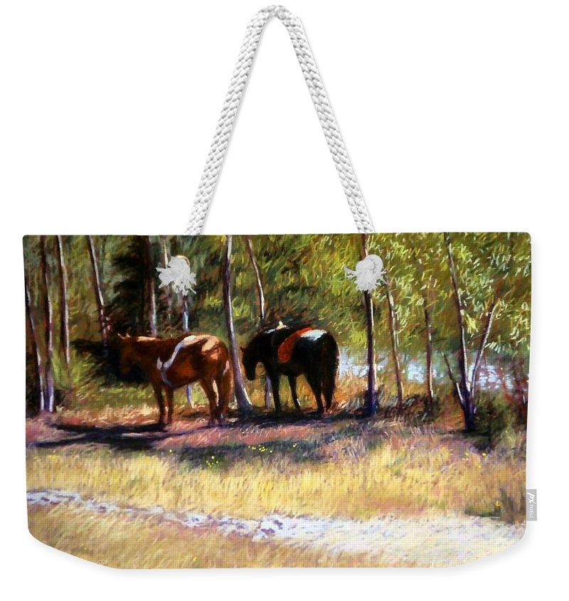 Pastel Weekender Tote Bag featuring the painting A Rest By The River by Mary McInnis