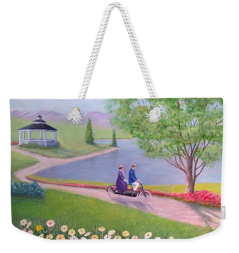 Landscape Weekender Tote Bag featuring the painting A Ride In The Park by William H RaVell III