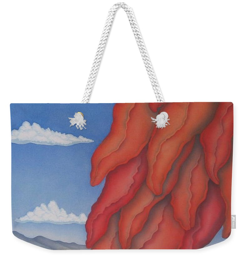 Southwest Weekender Tote Bag featuring the painting A Ristra On A Breeze by Jeniffer Stapher-Thomas