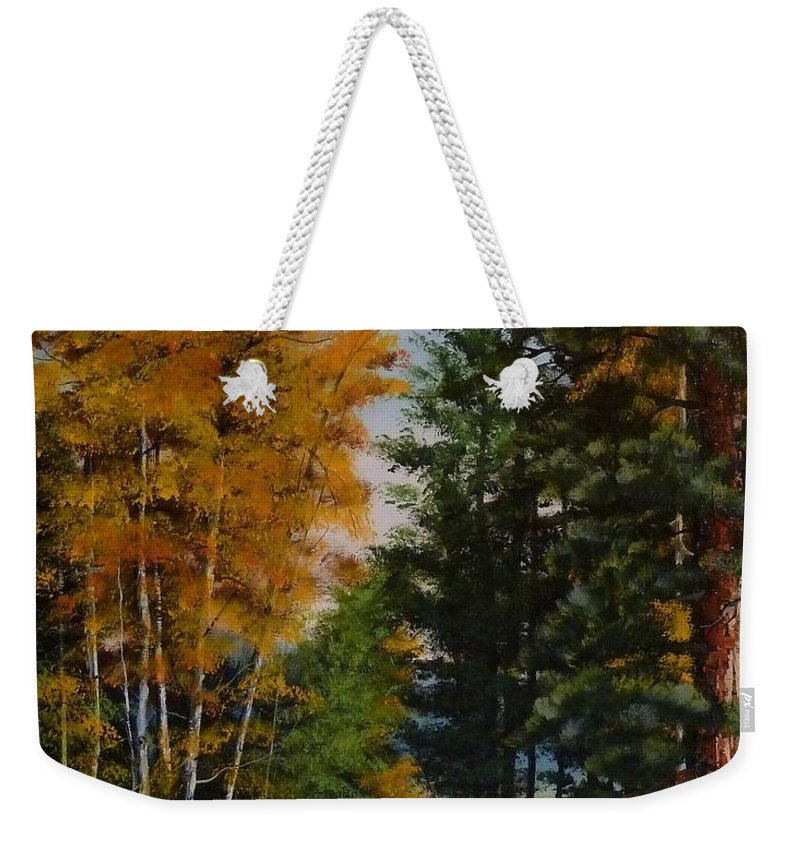Autumn Weekender Tote Bag featuring the painting A Road Less Taken by Judy Bradley