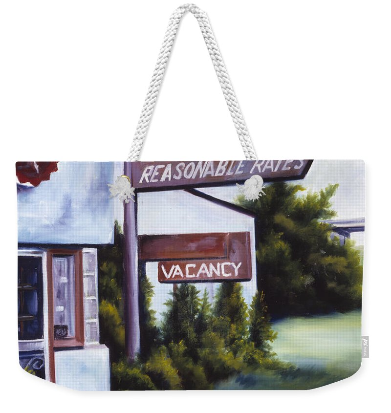 Motel; Route 66; Desert; Abandoned; Delapidated; Lost; Highway; Route 66; Road; Vacancy; Run-down; Building; Old Signage; Nastalgia; Vintage; James Christopher Hill; Jameshillgallery.com; Foliage; Sky; Realism; Oils Weekender Tote Bag featuring the painting A Road Less Traveled by James Christopher Hill