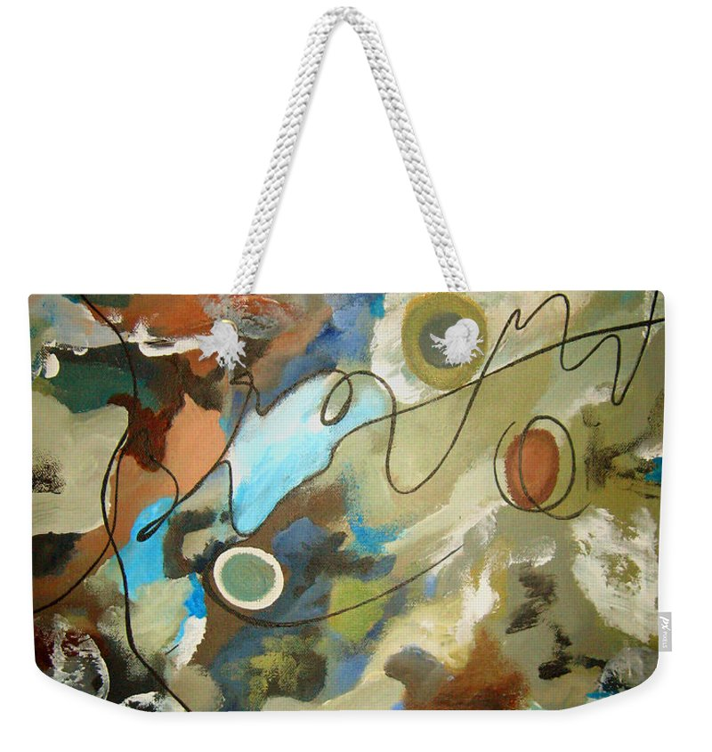 Abstract Weekender Tote Bag featuring the painting A Rolling Stone Gathers No Moss by Ruth Palmer