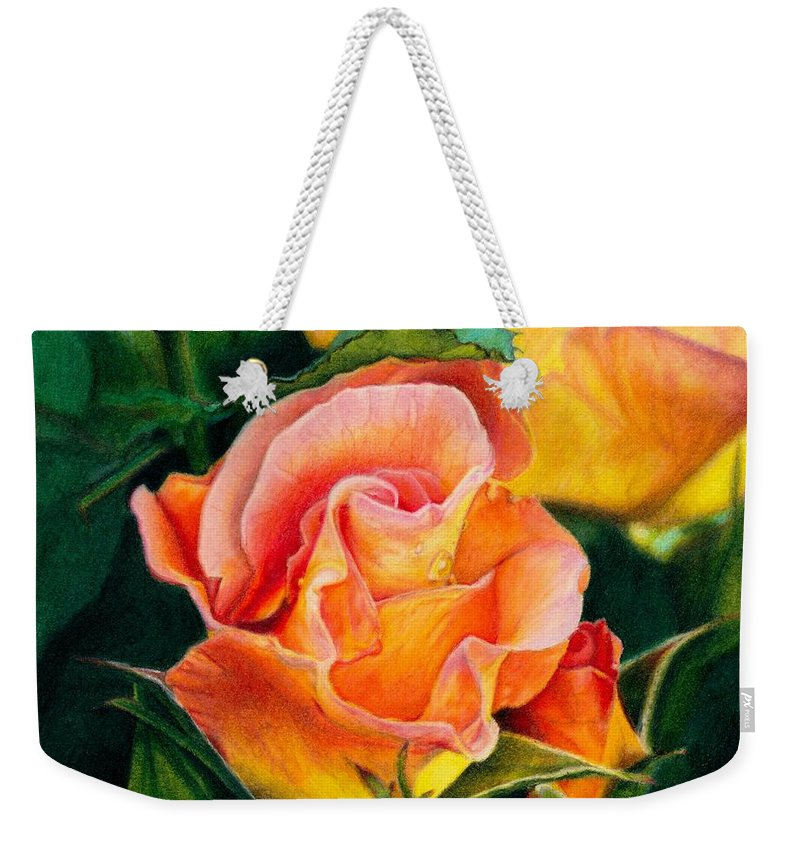 Coloured Pencil Weekender Tote Bag featuring the painting A Rose For Nan by Amanda Jensen