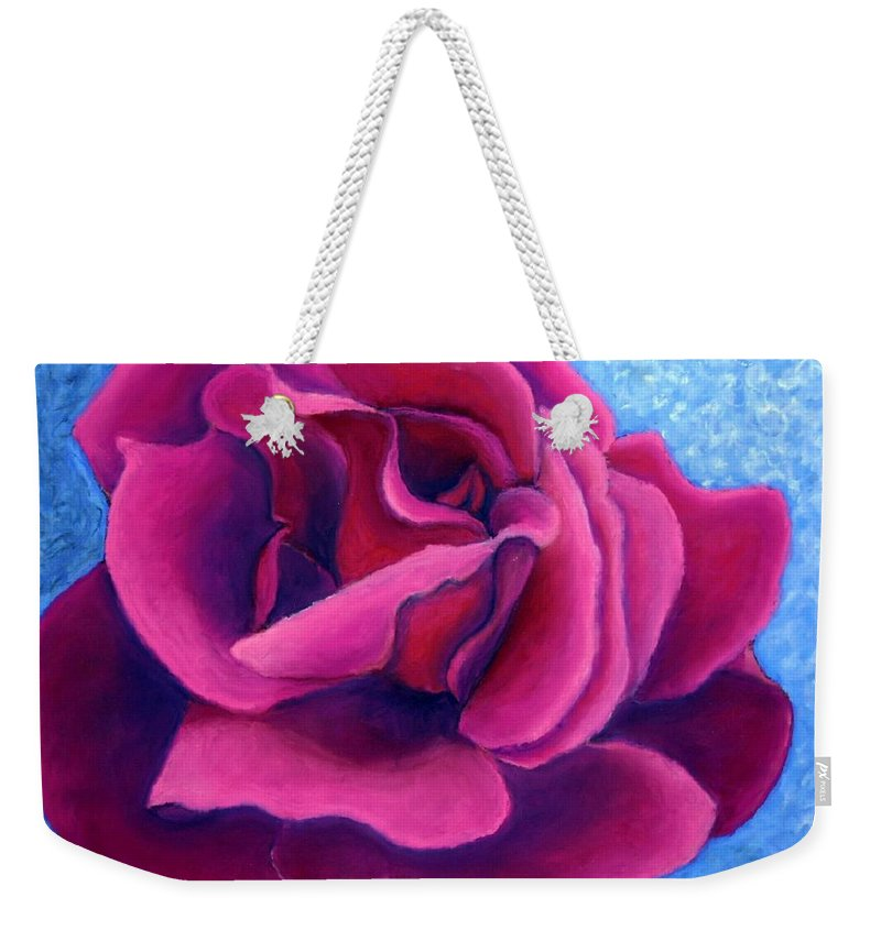 Rose. Pink Rose Weekender Tote Bag featuring the painting A Rose Is A Rose.. by Minaz Jantz