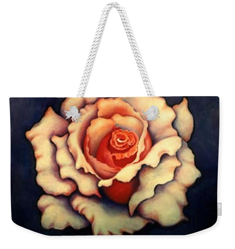Flower Weekender Tote Bag featuring the painting A Rose by Jordana Sands