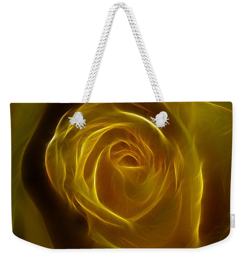 Yellow Weekender Tote Bag featuring the photograph A Rose Of Yellow by Deborah Benoit