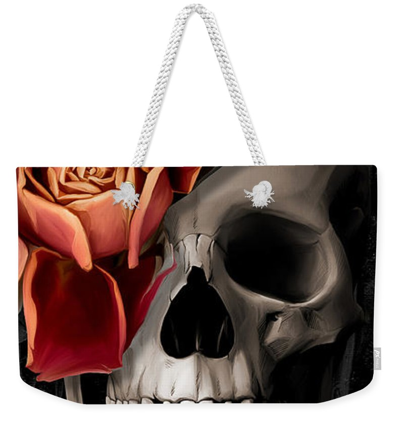 Skull Weekender Tote Bag featuring the digital art A Rose On The Skull by Canvas Cultures