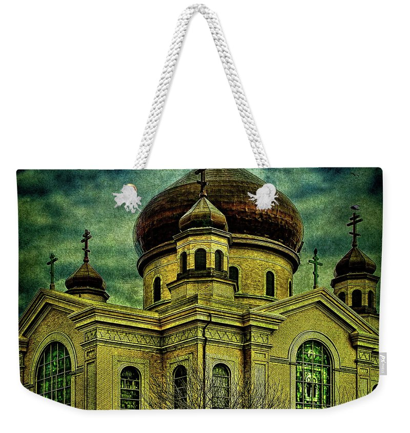 Cathedral Weekender Tote Bag featuring the photograph A Russian In Brooklyn by Chris Lord