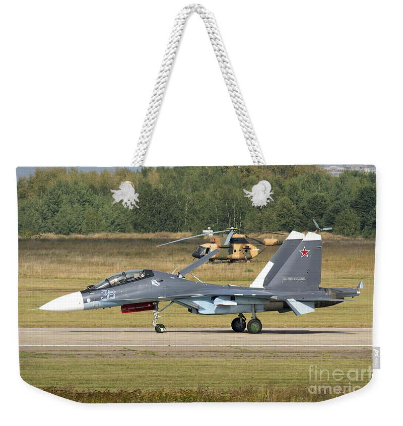 Horizontal Weekender Tote Bag featuring the photograph A Russian Navy Su-30sm Aircraft by Daniele Faccioli