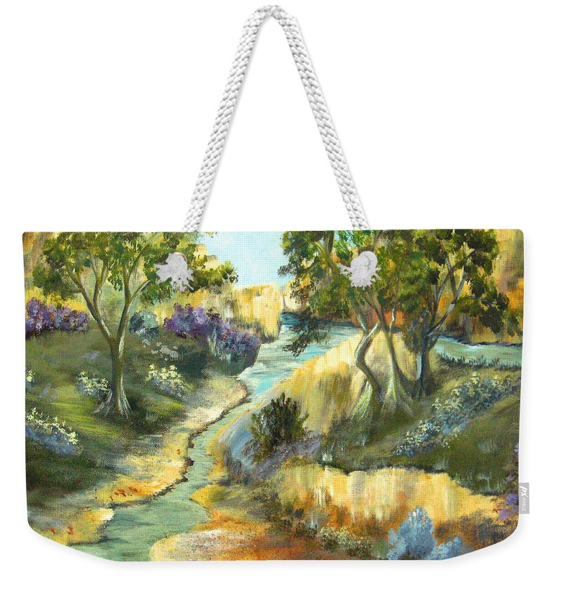Landscape Weekender Tote Bag featuring the painting A Sandy Place To Rest by Ruth Palmer