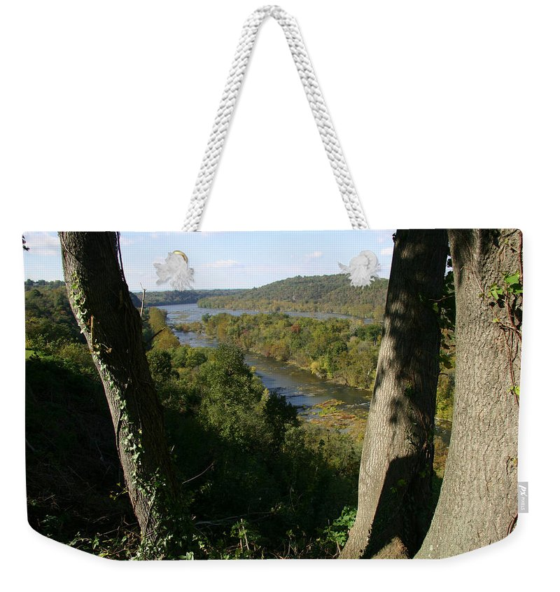 Harpers Ferry Weekender Tote Bag featuring the photograph A Scenic View Of The Potomac River by Stephen St. John