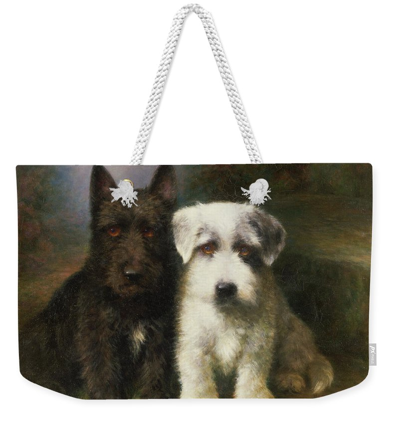 Dogs Weekender Tote Bag featuring the painting A Scottish And A Sealyham Terrier by Lilian Cheviot