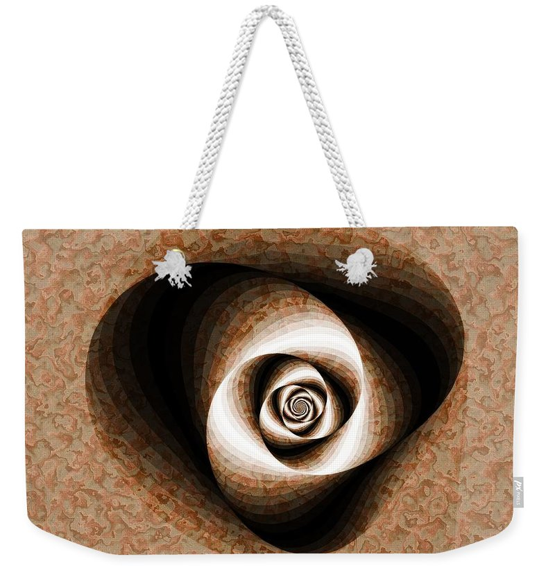 Fractal Weekender Tote Bag featuring the digital art a Sculpt Rose by Richard Ortolano