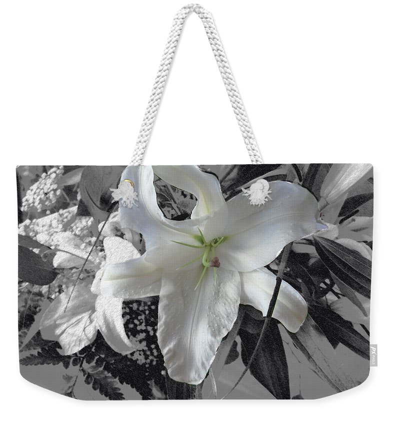 Lily Flowers Plants Nature Natural Flower Lilies Black And White  Weekender Tote Bag featuring the photograph A Sense Of Purity by Andrea Lawrence