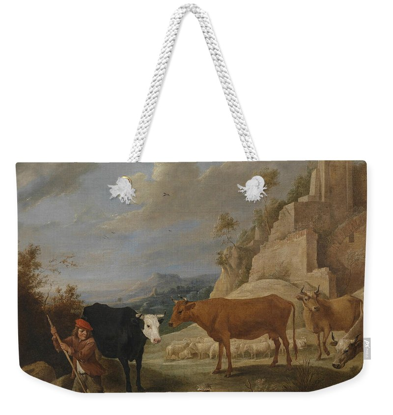 17th Century Art Weekender Tote Bag featuring the painting A Shepherd With His Flock In A Landscape With Ruins by David Teniers the Younger