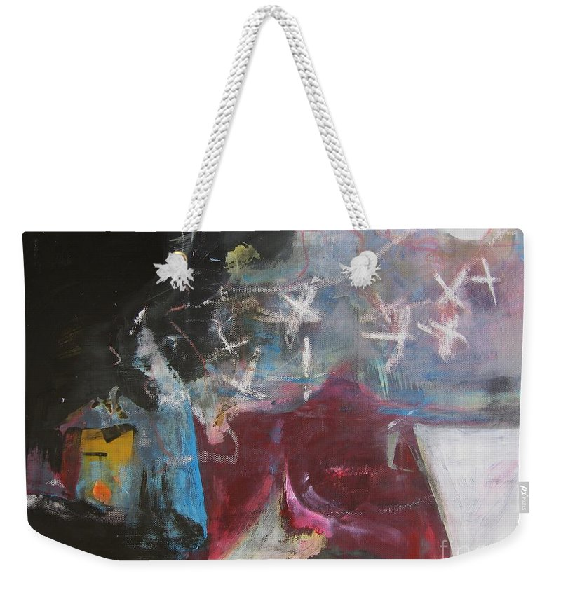 Abstract Paintings Weekender Tote Bag featuring the painting A Short Story by Seon-Jeong Kim