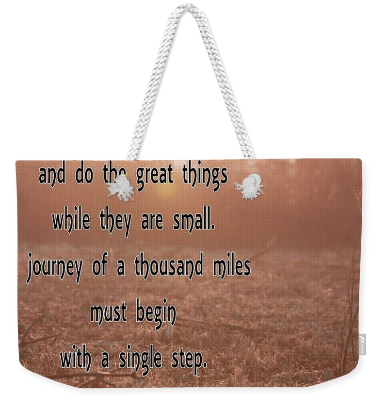 A Single Step Weekender Tote Bag featuring the photograph A Single Step by Dan Sproul