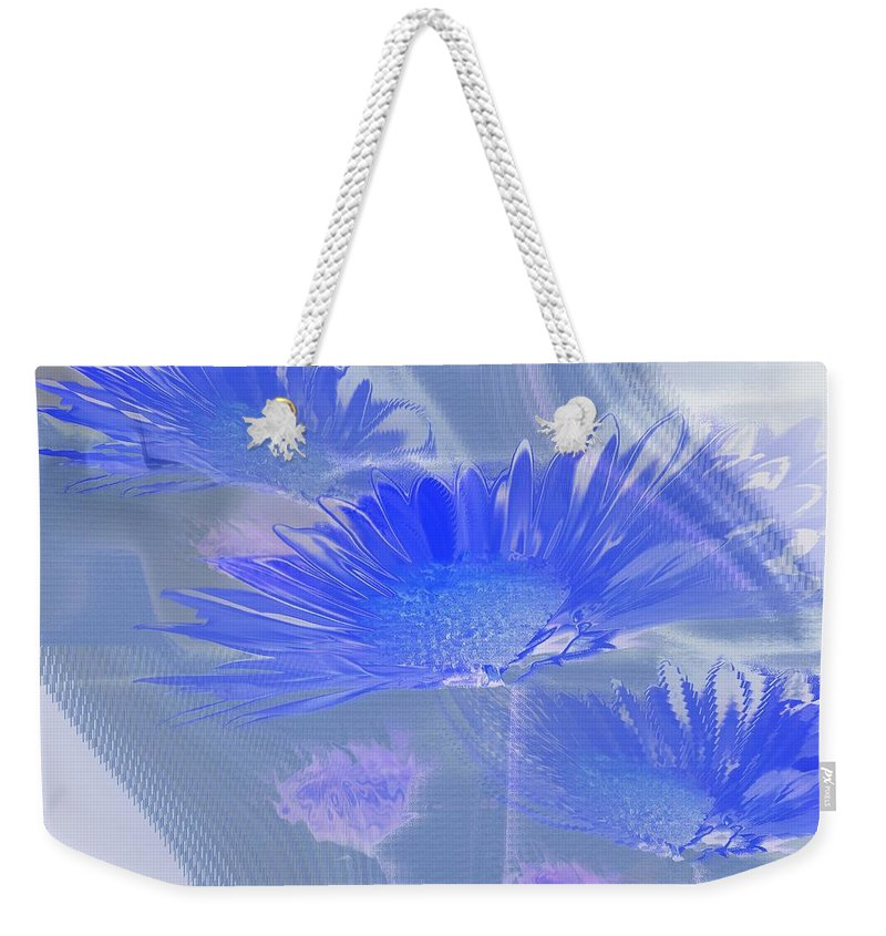 Abstract Weekender Tote Bag featuring the photograph A Slanting Blue Wind by Jeff Swan