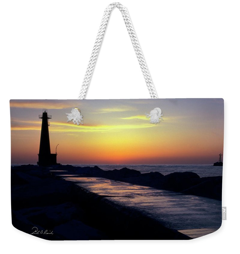Color Weekender Tote Bag featuring the photograph A Sliver Of Sunset by Frederic A Reinecke