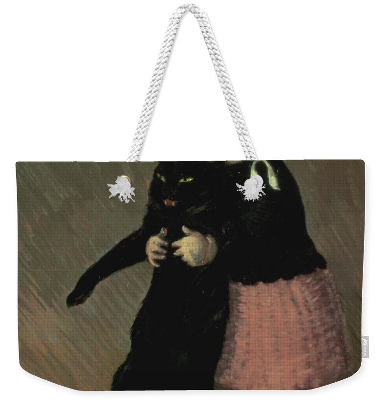Pet Weekender Tote Bag featuring the painting A Small Girl With A Cat by TA Steinlen