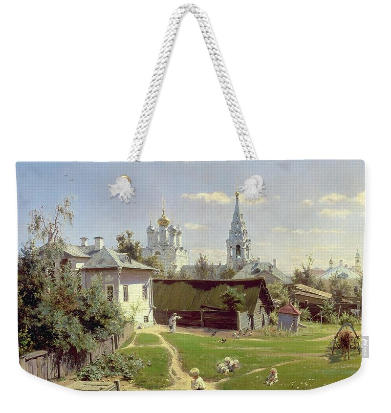 Small Weekender Tote Bag featuring the painting A Small Yard In Moscow by Vasilij Dmitrievich Polenov