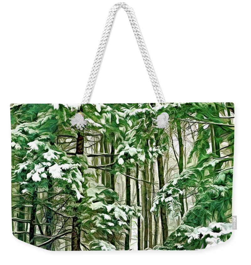 Deer Weekender Tote Bag featuring the photograph A Snowy Day - Paint by Steve Harrington