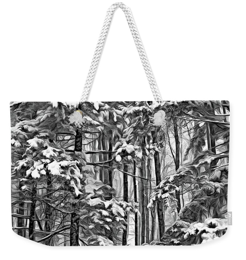 Deer Weekender Tote Bag featuring the photograph A Snowy Day Sc by Steve Harrington