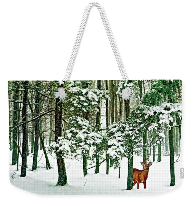 Deer Weekender Tote Bag featuring the photograph A Snowy Day by Steve Harrington