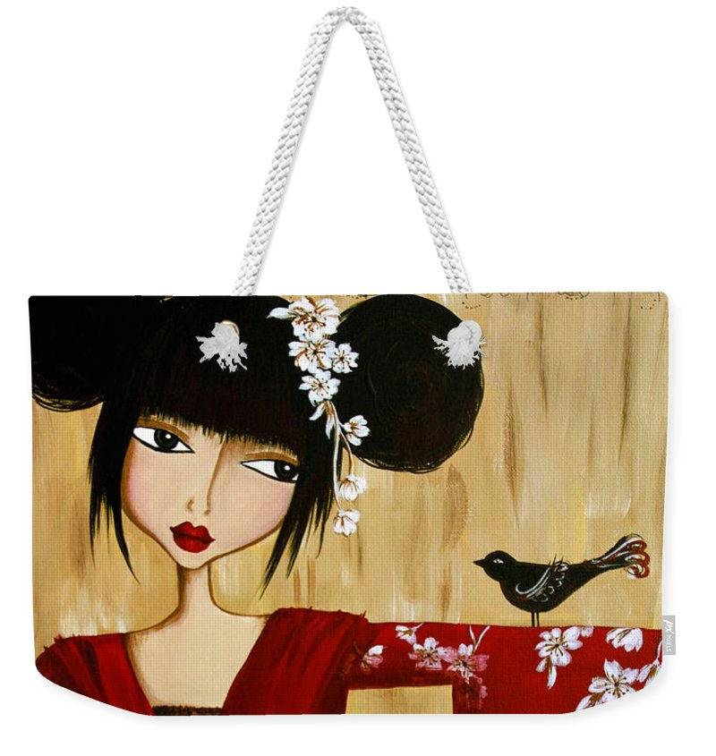 Red Kimono Weekender Tote Bag featuring the painting A Song For Suki by Debbie Horton