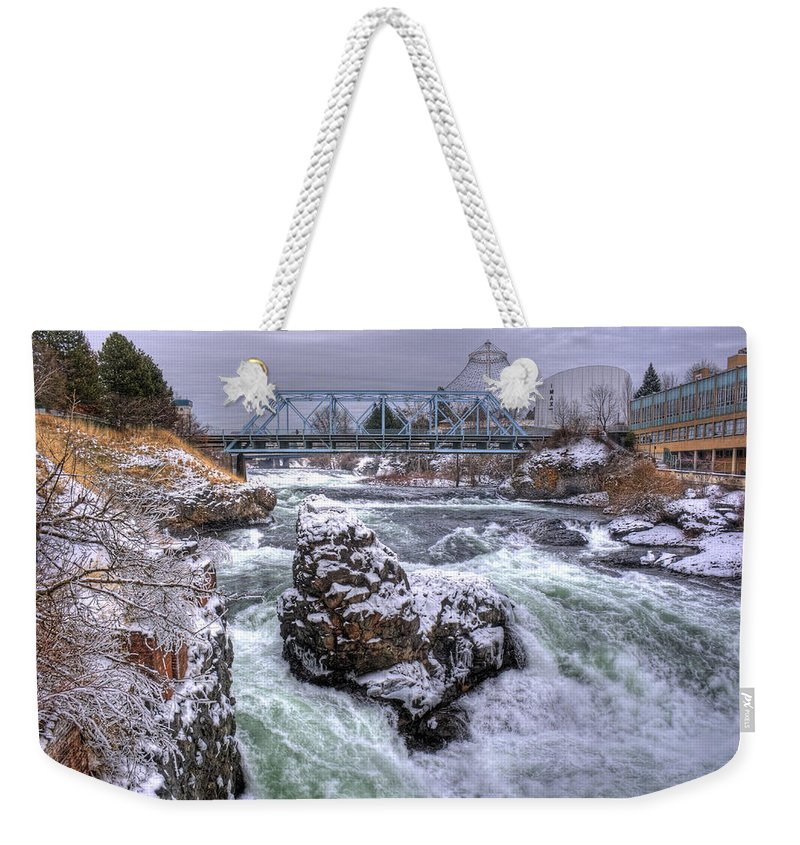 Spokane Weekender Tote Bag featuring the photograph A Spokane Falls Winter by Lee Santa