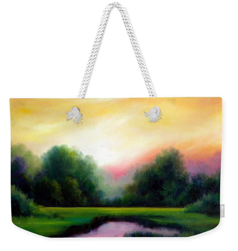 Clouds Weekender Tote Bag featuring the painting A Spring Evening by James Christopher Hill