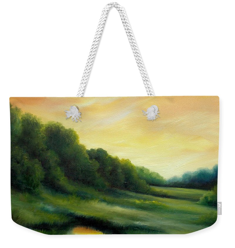 Clouds Weekender Tote Bag featuring the painting A Spring Evening Part Two by James Christopher Hill