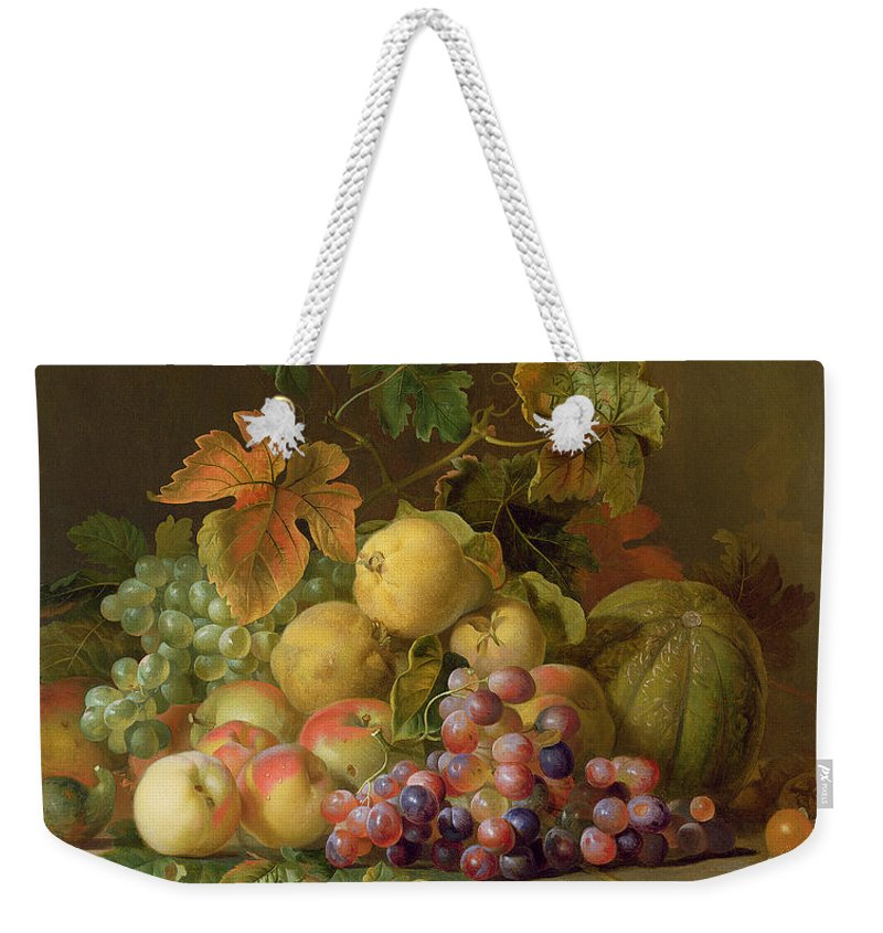 Still Weekender Tote Bag featuring the painting A Still Life Of Melons Grapes And Peaches On A Ledge by Jakob Bogdani
