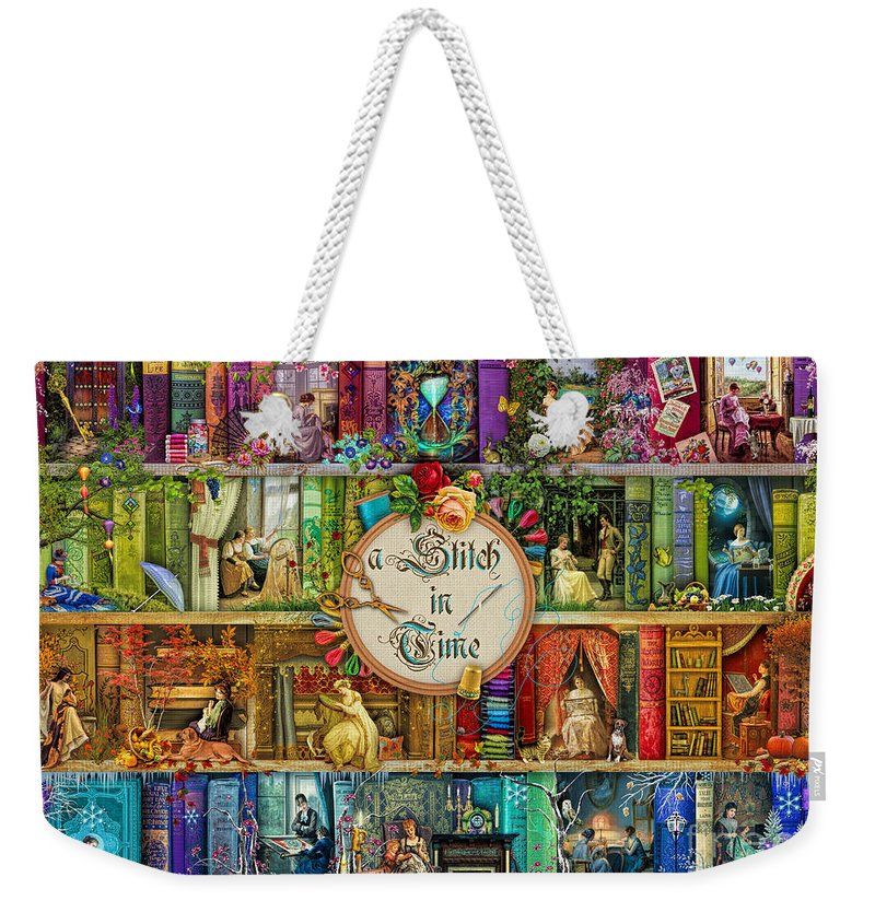 Aimee Stewart Weekender Tote Bag featuring the digital art A Stitch In Time by MGL Meiklejohn Graphics Licensing