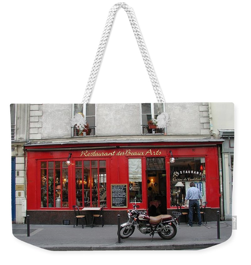 Red Weekender Tote Bag featuring the photograph A Stop Along The Journey by Tom Reynen
