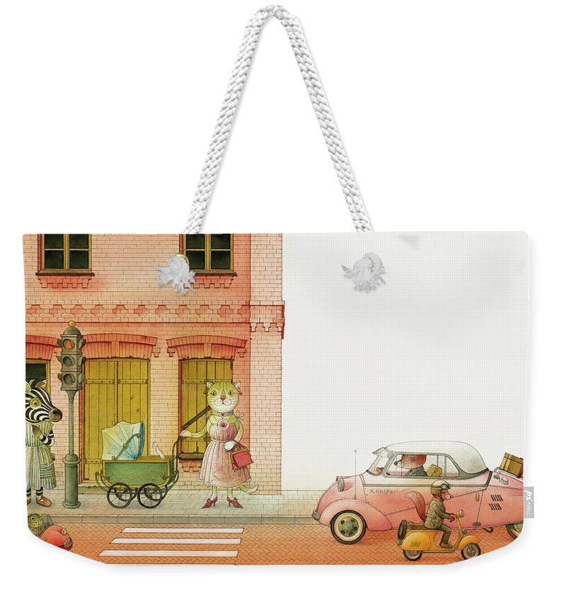 Striped Zebra Cat Cars Street Traffic Old Town Red Children Illustration Book Animals Weekender Tote Bag featuring the drawing A Striped Story02 by Kestutis Kasparavicius