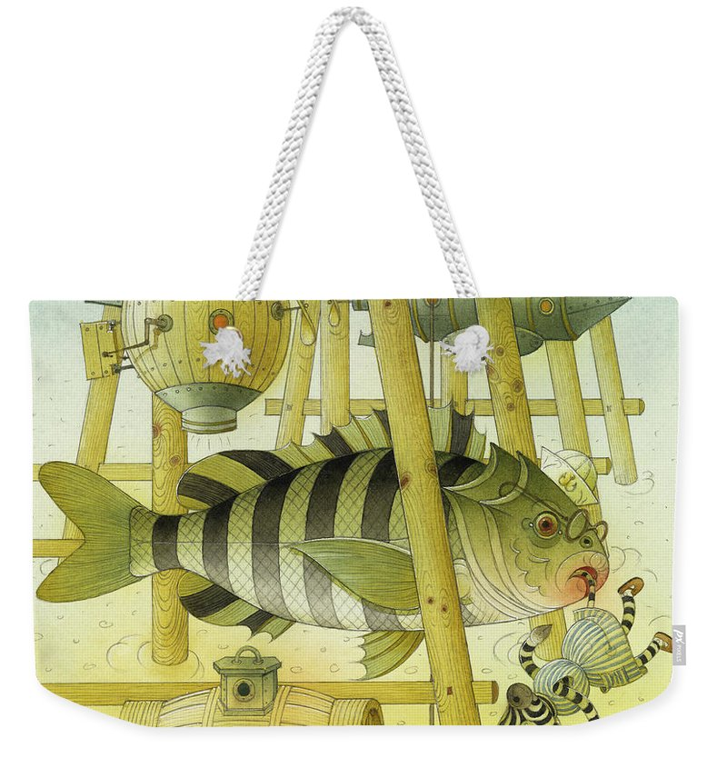 Striped Zebra Animals Fish Submarine Underwater Water Sea Sand Illustration Children Book Weekender Tote Bag featuring the painting A Striped Story07 by Kestutis Kasparavicius