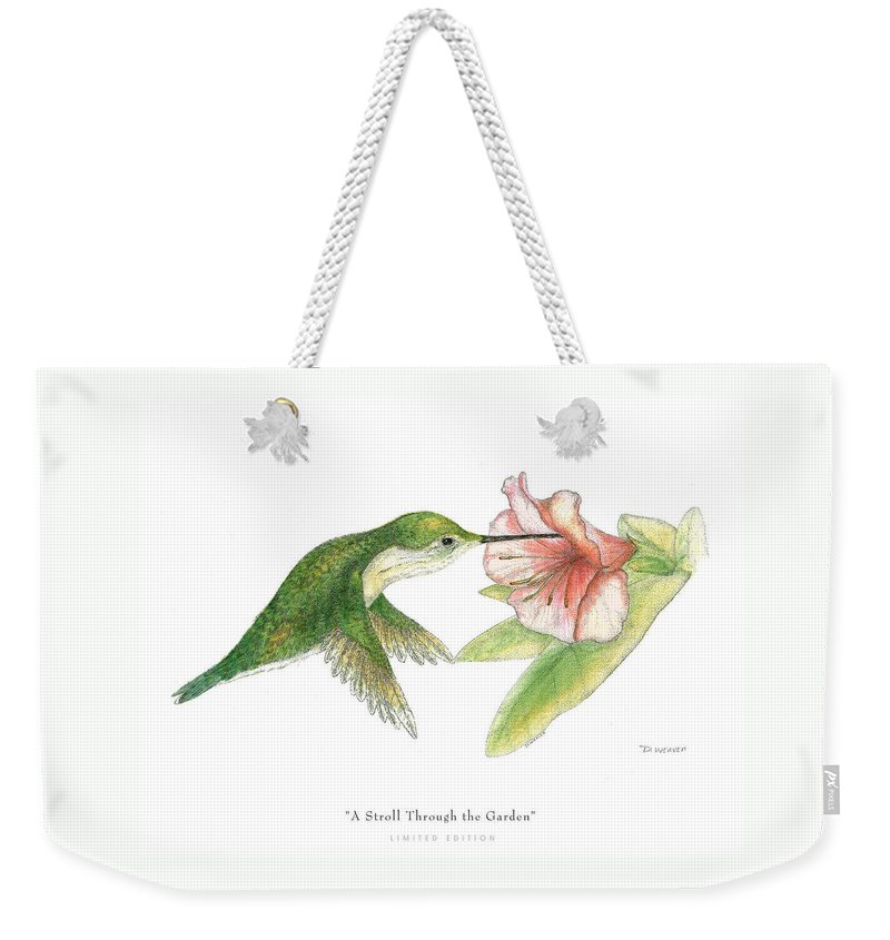 Hummingbird Drinking Nectar Weekender Tote Bag featuring the drawing A Stroll Through The Garden by David Weaver